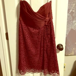 Burgundy Red Strapless Formal Dress